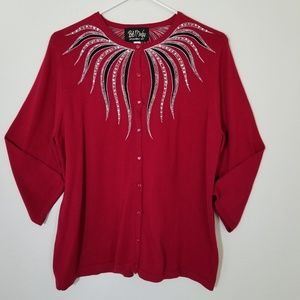 Bob Mackie Wearable Art Red Button Down Sweater L